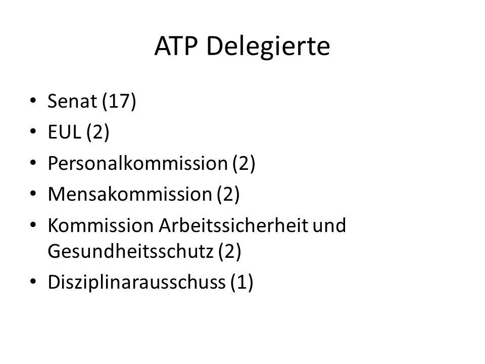 ATP Delegierte Senat (17) EUL (2) Personalkommission (2) Mensakommission (2) Kommission Arbeitssicherheit und Gesundheitsschutz (2) Disziplinarausschuss (1)