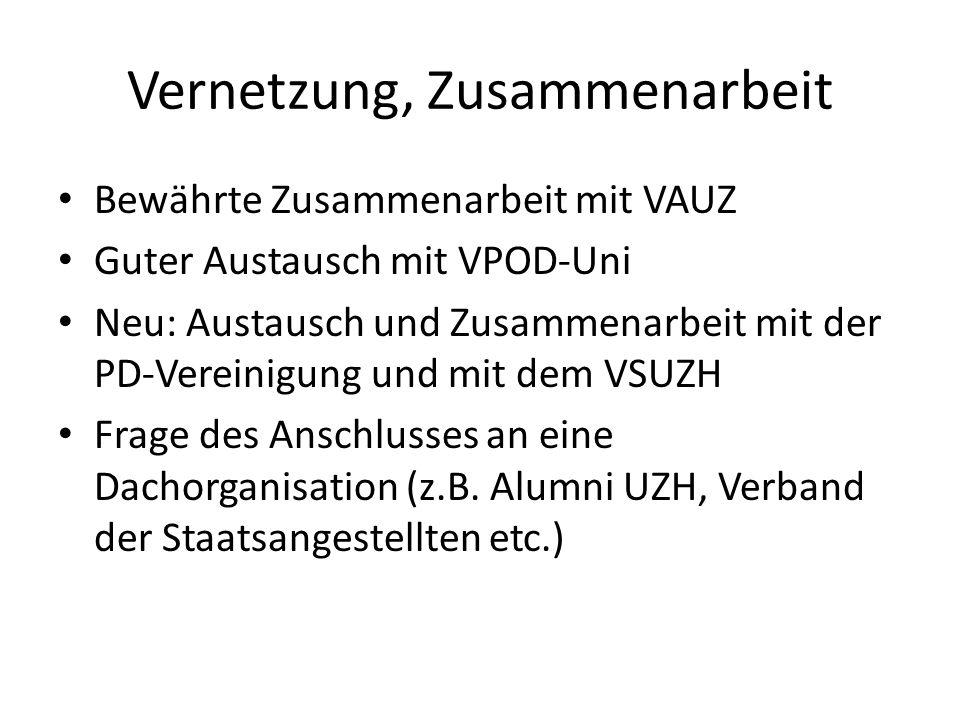Vernetzung, Zusammenarbeit Bewährte Zusammenarbeit mit VAUZ Guter Austausch mit VPOD-Uni Neu: Austausch und Zusammenarbeit mit der PD-Vereinigung und mit dem VSUZH Frage des Anschlusses an eine Dachorganisation (z.B.