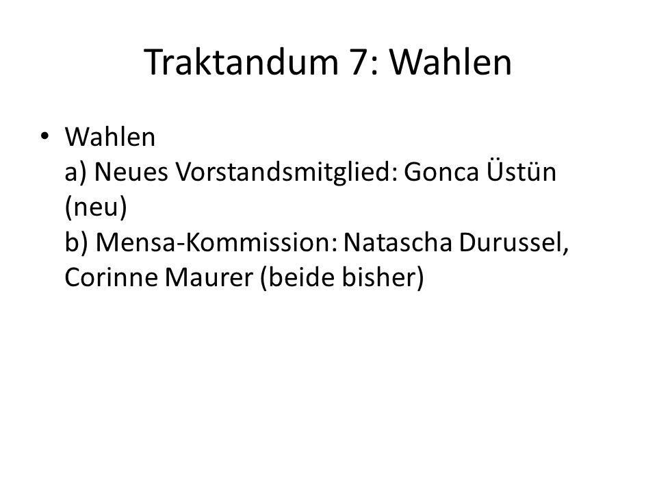 Traktandum 7: Wahlen Wahlen a) Neues Vorstandsmitglied: Gonca Üstün (neu) b) Mensa-Kommission: Natascha Durussel, Corinne Maurer (beide bisher)