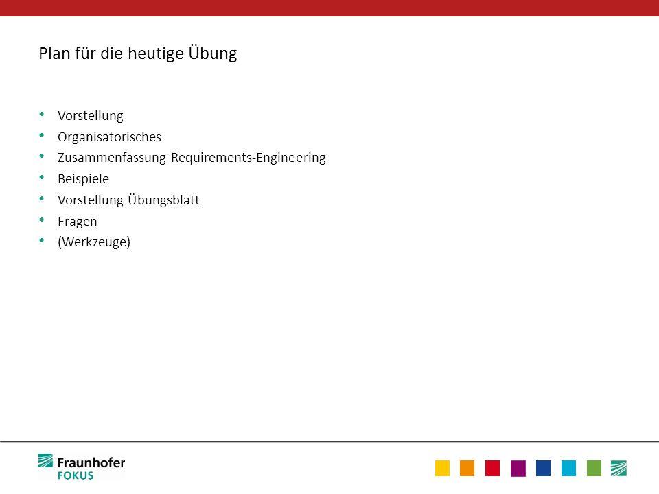 Plan für die heutige Übung Vorstellung Organisatorisches Zusammenfassung Requirements-Engineering Beispiele Vorstellung Übungsblatt Fragen (Werkzeuge)
