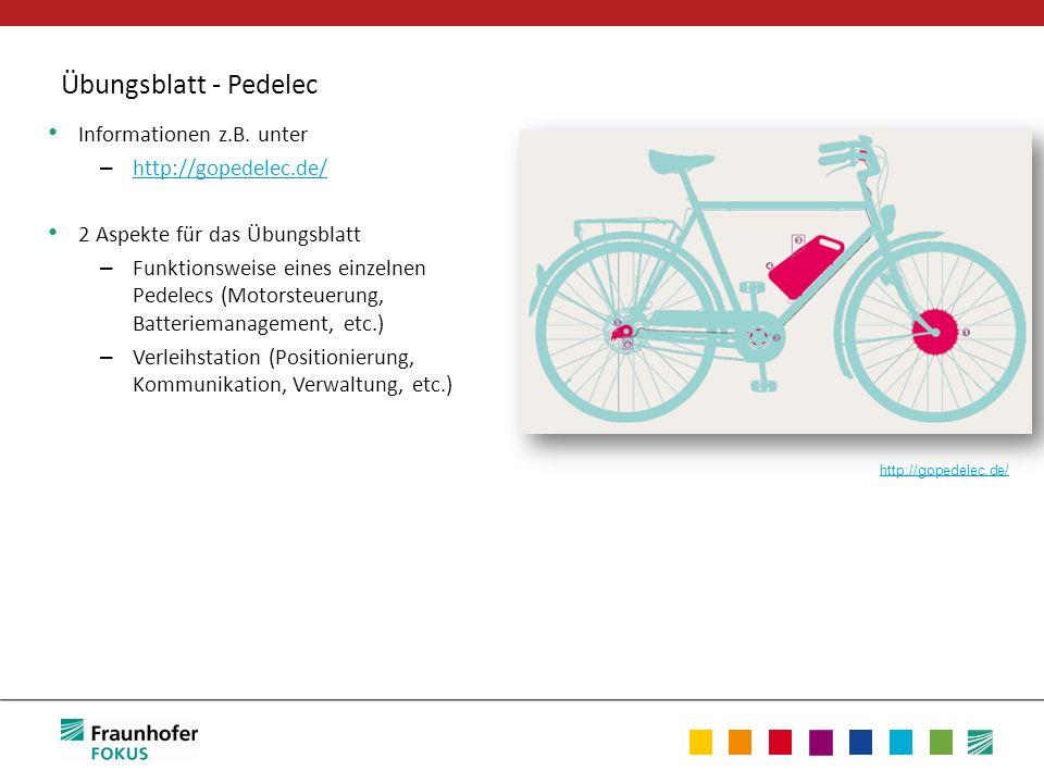 Übungsblatt - Pedelec Informationen z.B. unter – http://gopedelec.de/ http://gopedelec.de/ 2 Aspekte für das Übungsblatt – Funktionsweise eines einzel