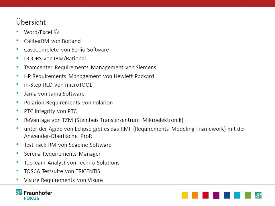 Übersicht Word/Excel CaliberRM von Borland CaseComplete von Serlio Software DOORS von IBM/Rational Teamcenter Requirements Management von Siemens HP R