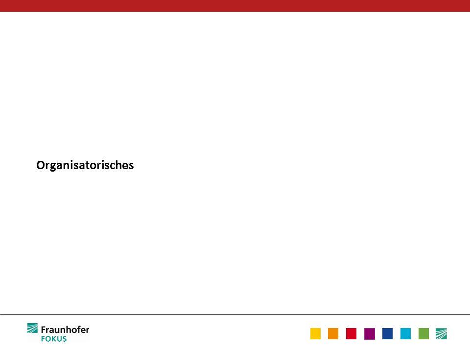 Wöchentliche Übung Übungsblätter (ein- oder zweiwöchiger Rhythmus) – Abgabe vor der entsprechenden Übung per Mail Jaroslav.Svacina @ fokus.fraunhofer.de – Bearbeitung in Gruppen (2 Personen) – Ca.