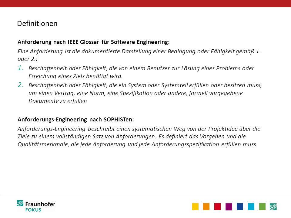 Definitionen Anforderung nach IEEE Glossar für Software Engineering: Eine Anforderung ist die dokumentierte Darstellung einer Bedingung oder Fähigkeit