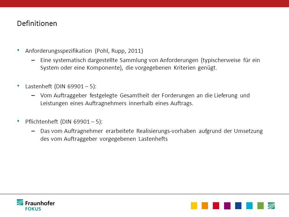 Definitionen Anforderungsspezifikation (Pohl, Rupp, 2011) – Eine systematisch dargestellte Sammlung von Anforderungen (typischerweise für ein System o