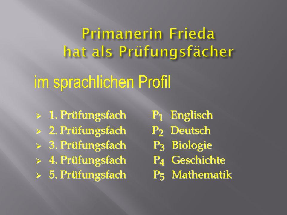 1. Prüfungsfach P 1 Englisch 1. Prüfungsfach P 1 Englisch 2. Prüfungsfach P 2 Deutsch 2. Prüfungsfach P 2 Deutsch 3. Prüfungsfach P 3 Biologie 3. Prüf