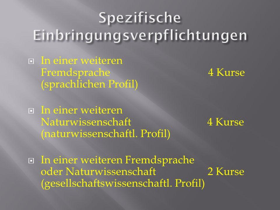 In einer weiteren Fremdsprache 4 Kurse (sprachlichen Profil) In einer weiteren Naturwissenschaft 4 Kurse (naturwissenschaftl. Profil) In einer weitere