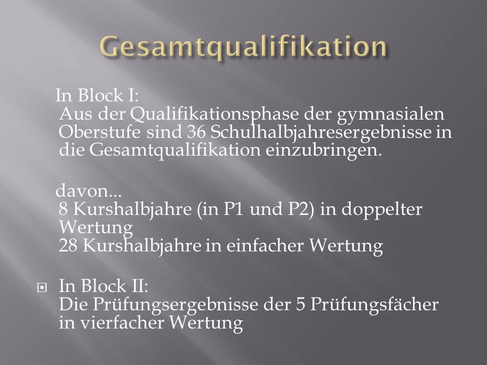 In Block I: Aus der Qualifikationsphase der gymnasialen Oberstufe sind 36 Schulhalbjahresergebnisse in die Gesamtqualifikation einzubringen. davon...