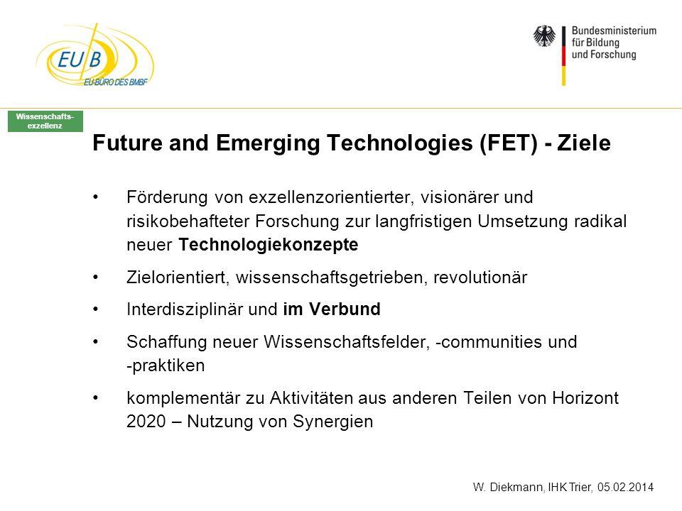 W. Diekmann, IHK Trier, 05.02.2014 Future and Emerging Technologies (FET) - Ziele Förderung von exzellenzorientierter, visionärer und risikobehafteter