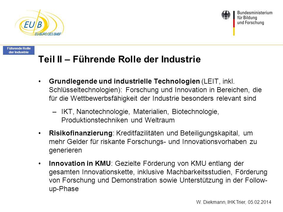 W. Diekmann, IHK Trier, 05.02.2014 Teil II – Führende Rolle der Industrie Grundlegende und industrielle Technologien (LEIT, inkl. Schlüsseltechnologie