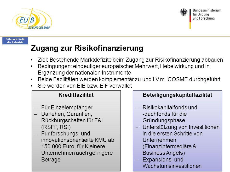 W. Diekmann, IHK Trier, 05.02.2014 Zugang zur Risikofinanzierung Kreditfazilität Für Einzelempfänger Darlehen, Garantien, Rückbürgschaften für F&I (RS