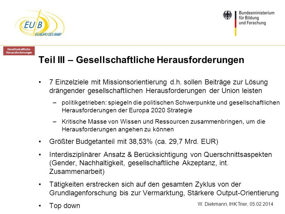 W. Diekmann, IHK Trier, 05.02.2014 Teil III – Gesellschaftliche Herausforderungen 7 Einzelziele mit Missionsorientierung d.h. sollen Beiträge zur Lösu