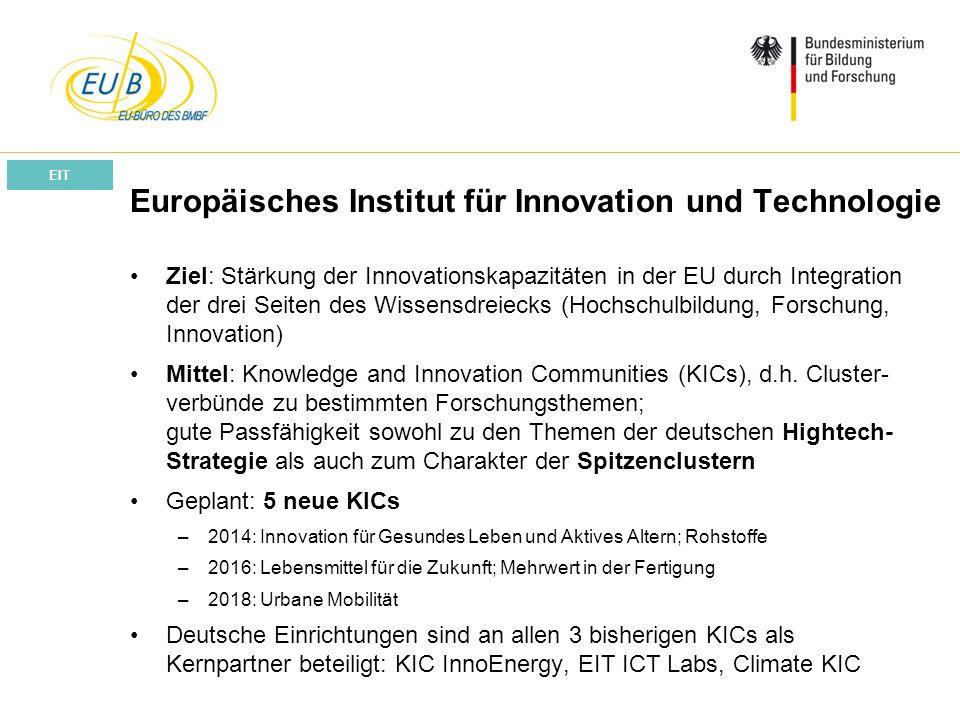 W. Diekmann, IHK Trier, 05.02.2014 Europäisches Institut für Innovation und Technologie Ziel: Stärkung der Innovationskapazitäten in der EU durch Inte