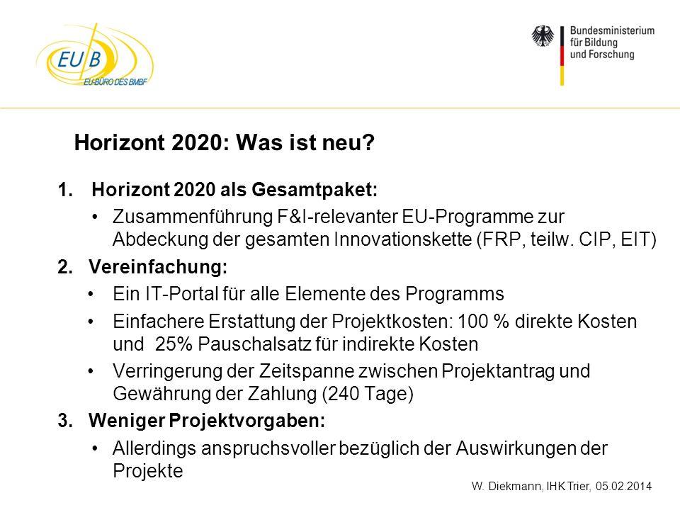 W. Diekmann, IHK Trier, 05.02.2014 Horizont 2020: Was ist neu? 1.Horizont 2020 als Gesamtpaket: Zusammenführung F&I-relevanter EU-Programme zur Abdeck