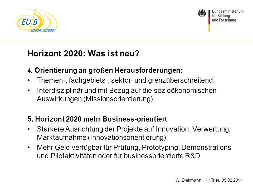 W. Diekmann, IHK Trier, 05.02.2014 Horizont 2020: Was ist neu? 4. Orientierung an großen Herausforderungen: Themen-, fachgebiets-, sektor- und grenzüb