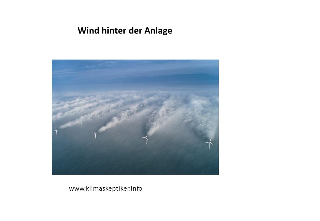 Wind vor der Anlage und hinter der Anlage Der Wind wird abgebremst und in Spiralen umgelenkt!
