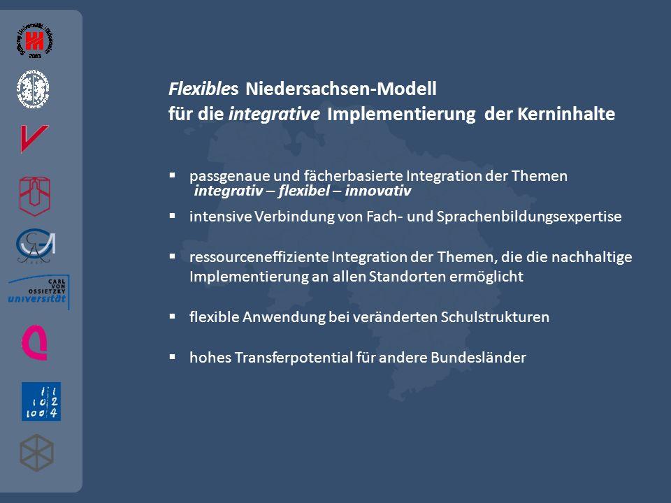 Flexibles Niedersachsen-Modell für die integrative Implementierung der Kerninhalte passgenaue und fächerbasierte Integration der Themen intensive Verb