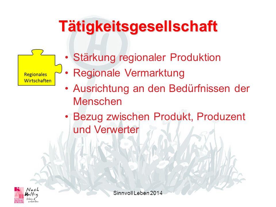 Tätigkeitsgesellschaft Sinnvoll Leben 2014 Stärkung regionaler Produktion Regionale Vermarktung Ausrichtung an den Bedürfnissen der Menschen Bezug zwischen Produkt, Produzent und Verwerter