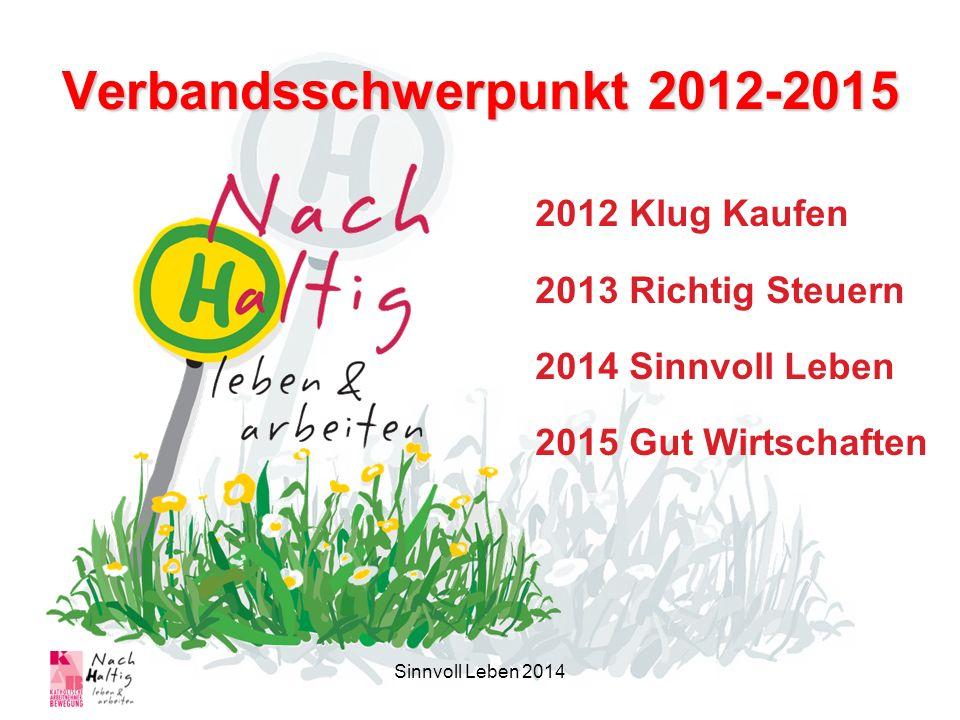 Verbandsschwerpunkt 2012-2015 2012 Klug Kaufen 2013 Richtig Steuern 2014 Sinnvoll Leben 2015 Gut Wirtschaften Sinnvoll Leben 2014