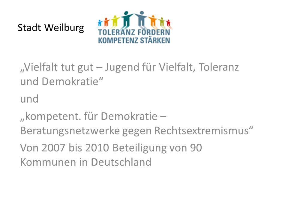 Stadt Weilburg Vielfalt tut gut – Jugend für Vielfalt, Toleranz und Demokratie und kompetent.