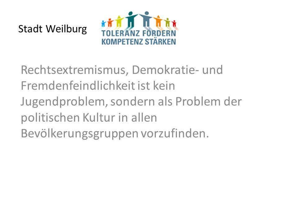 Stadt Weilburg Rechtsextremismus, Demokratie- und Fremdenfeindlichkeit ist kein Jugendproblem, sondern als Problem der politischen Kultur in allen Bevölkerungsgruppen vorzufinden.
