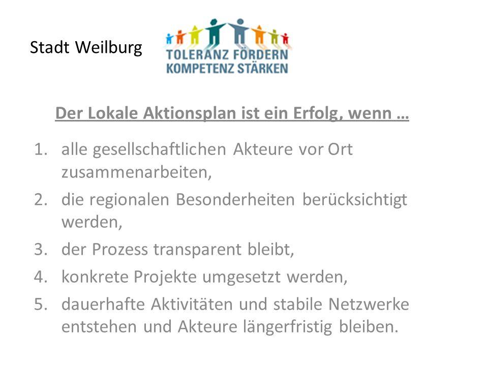 Stadt Weilburg Der Lokale Aktionsplan ist ein Erfolg, wenn … 1.alle gesellschaftlichen Akteure vor Ort zusammenarbeiten, 2.die regionalen Besonderheiten berücksichtigt werden, 3.der Prozess transparent bleibt, 4.konkrete Projekte umgesetzt werden, 5.dauerhafte Aktivitäten und stabile Netzwerke entstehen und Akteure längerfristig bleiben.