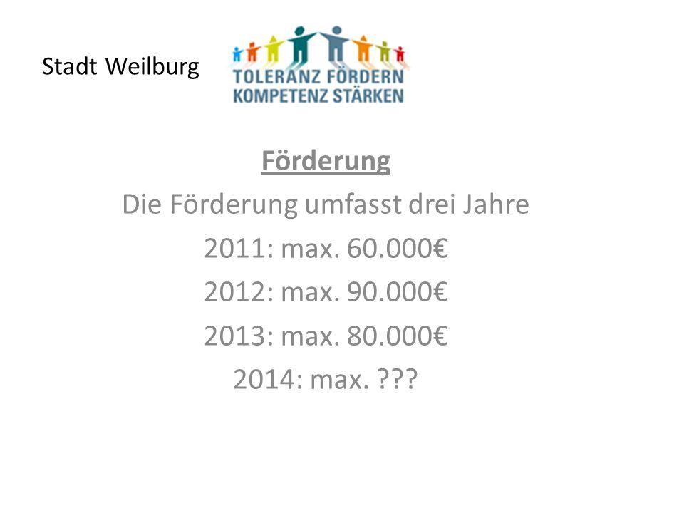Stadt Weilburg Förderung Die Förderung umfasst drei Jahre 2011: max.