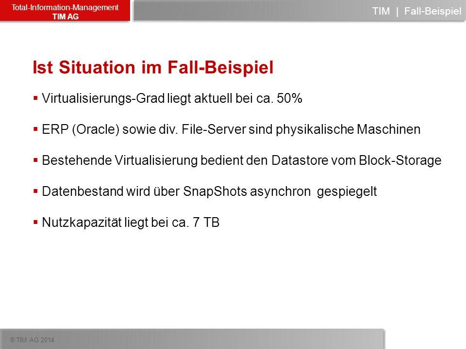 ® TIM AG 2014 Total-Information-Management TIM AG TIM   Fall-Beispiel Ist Situation im Fall-Beispiel Virtualisierungs-Grad liegt aktuell bei ca. 50% E