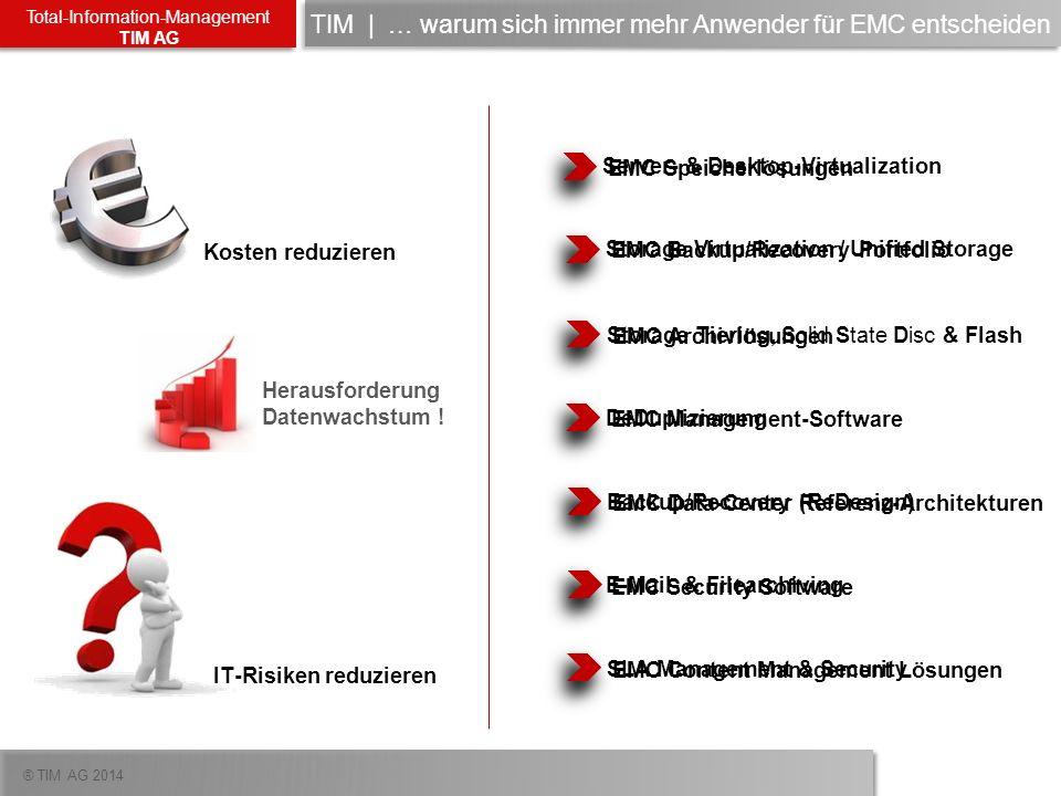 ® TIM AG 2014 Total-Information-Management TIM AG Herausforderung Datenwachstum ! Kosten reduzieren IT-Risiken reduzieren Storage Virtualization / Uni