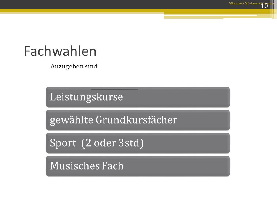 Fachwahlen Stiftsschule St.