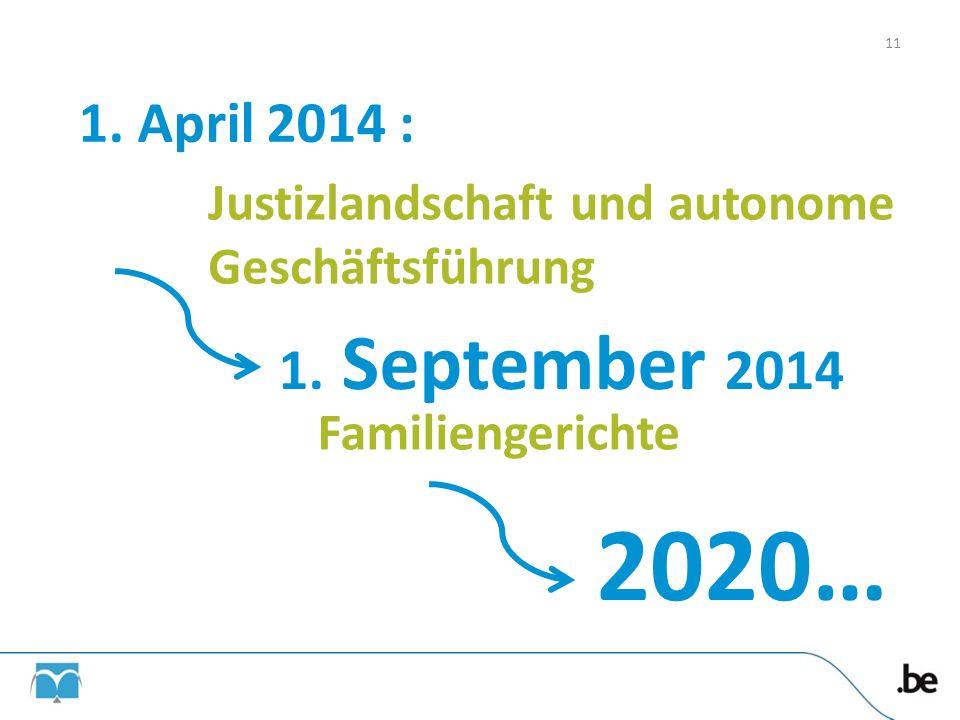 1. April 2014 : 1. September 2014 2020… Justizlandschaft und autonome Geschäftsführung Familiengerichte 11