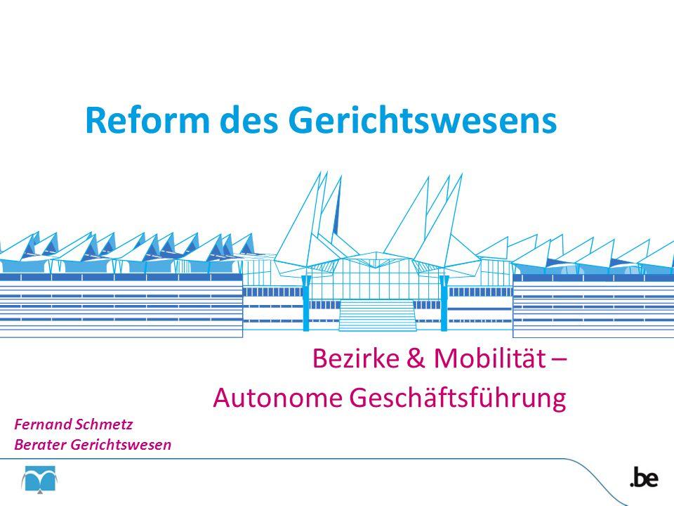 Bezirke & Mobilität – Autonome Geschäftsführung Reform des Gerichtswesens Fernand Schmetz Berater Gerichtswesen