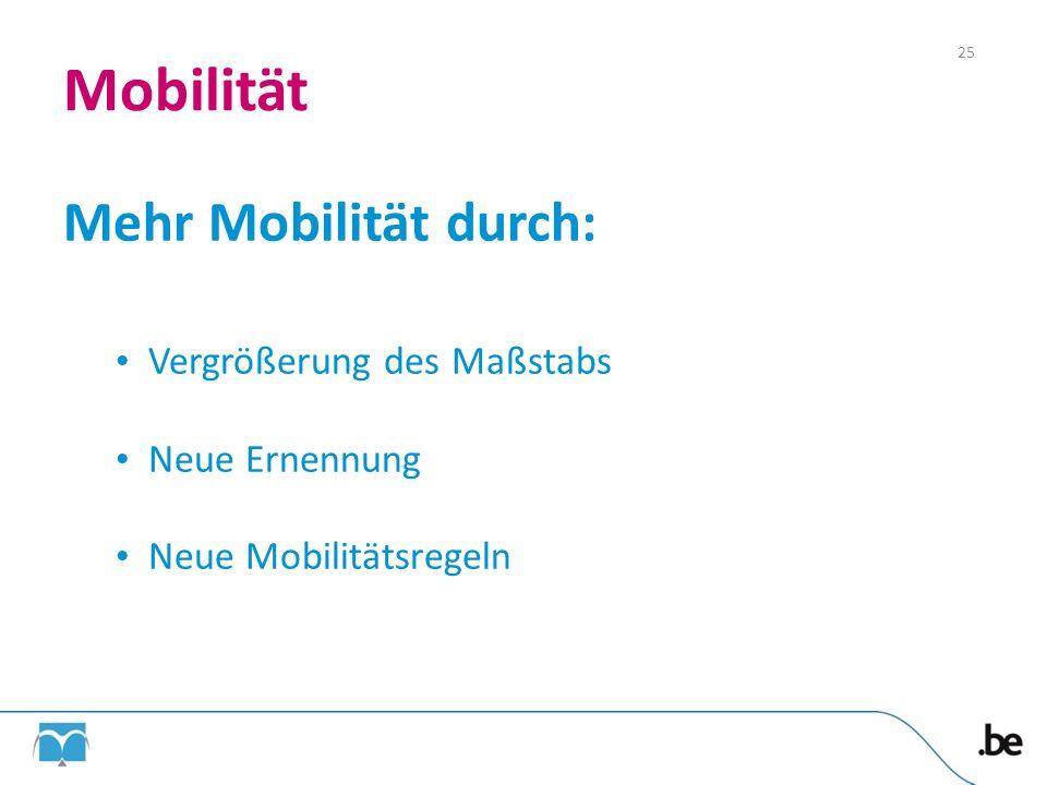 Mobilität Mehr Mobilität durch: Vergrößerung des Maßstabs Neue Ernennung Neue Mobilitätsregeln 25