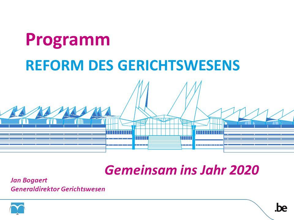 Gemeinsam ins Jahr 2020 Programm REFORM DES GERICHTSWESENS Jan Bogaert Generaldirektor Gerichtswesen 38