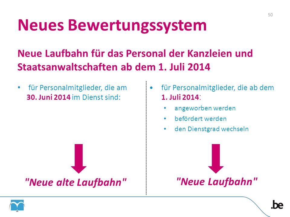 Neues Bewertungssystem Neue Laufbahn für das Personal der Kanzleien und Staatsanwaltschaften ab dem 1. Juli 2014 für Personalmitglieder, die am 30. Ju