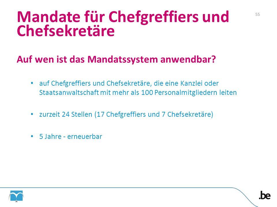 Mandate für Chefgreffiers und Chefsekretäre Auf wen ist das Mandatssystem anwendbar? auf Chefgreffiers und Chefsekretäre, die eine Kanzlei oder Staats
