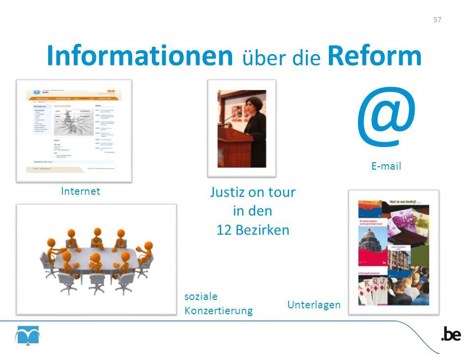 Informationen über die Reform Internet @ E-mail soziale Konzertierung Justiz on tour in den 12 Bezirken Unterlagen 57