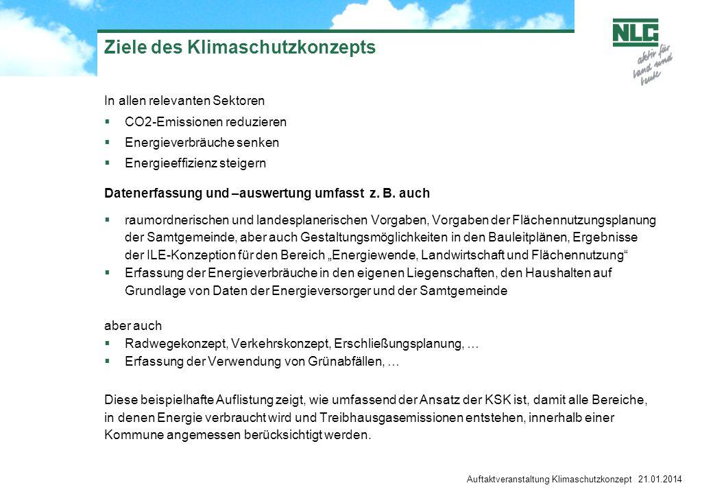 Auftaktveranstaltung Klimaschutzkonzept 21.01.2014 Ziele des Klimaschutzkonzepts In allen relevanten Sektoren CO2-Emissionen reduzieren Energieverbräu