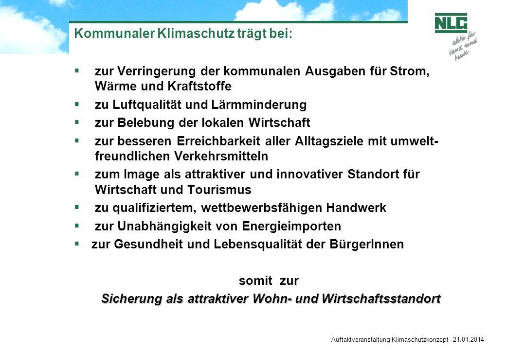 Auftaktveranstaltung Klimaschutzkonzept 21.01.2014 Kommunaler Klimaschutz trägt bei: zur Verringerung der kommunalen Ausgaben für Strom, Wärme und Kra