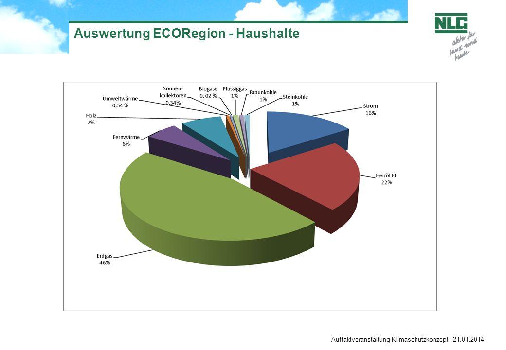 Auftaktveranstaltung Klimaschutzkonzept 21.01.2014 Auswertung ECORegion - Haushalte