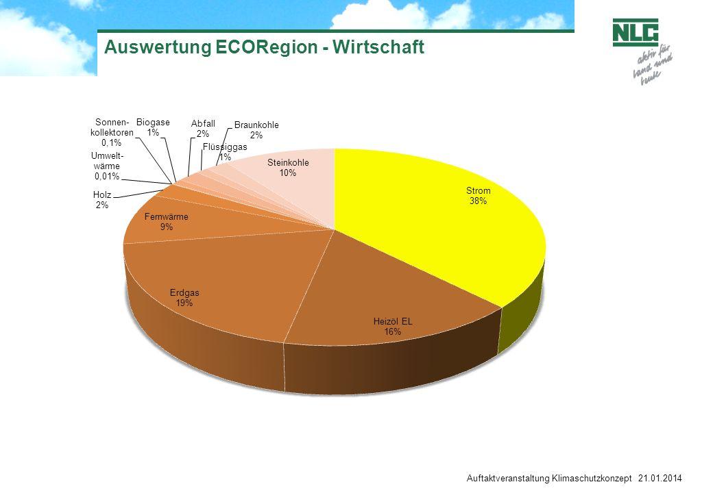 Auftaktveranstaltung Klimaschutzkonzept 21.01.2014 Auswertung ECORegion - Wirtschaft