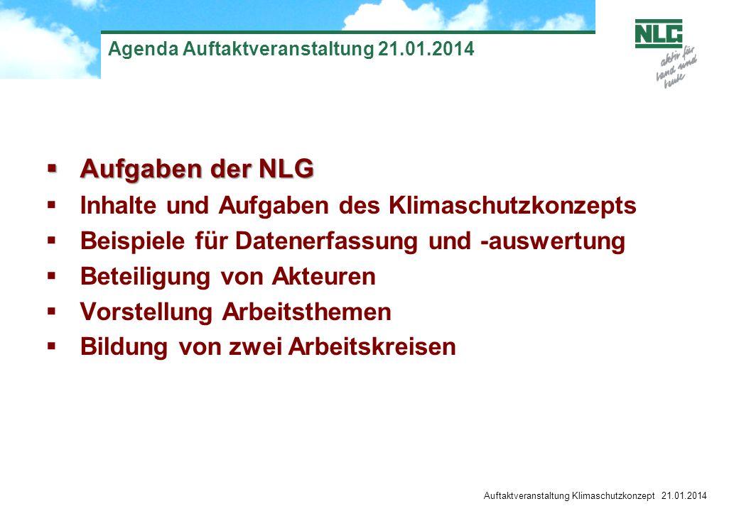 Auftaktveranstaltung Klimaschutzkonzept 21.01.2014 Agenda Auftaktveranstaltung 21.01.2014 Aufgaben der NLG Aufgaben der NLG Inhalte und Aufgaben des K