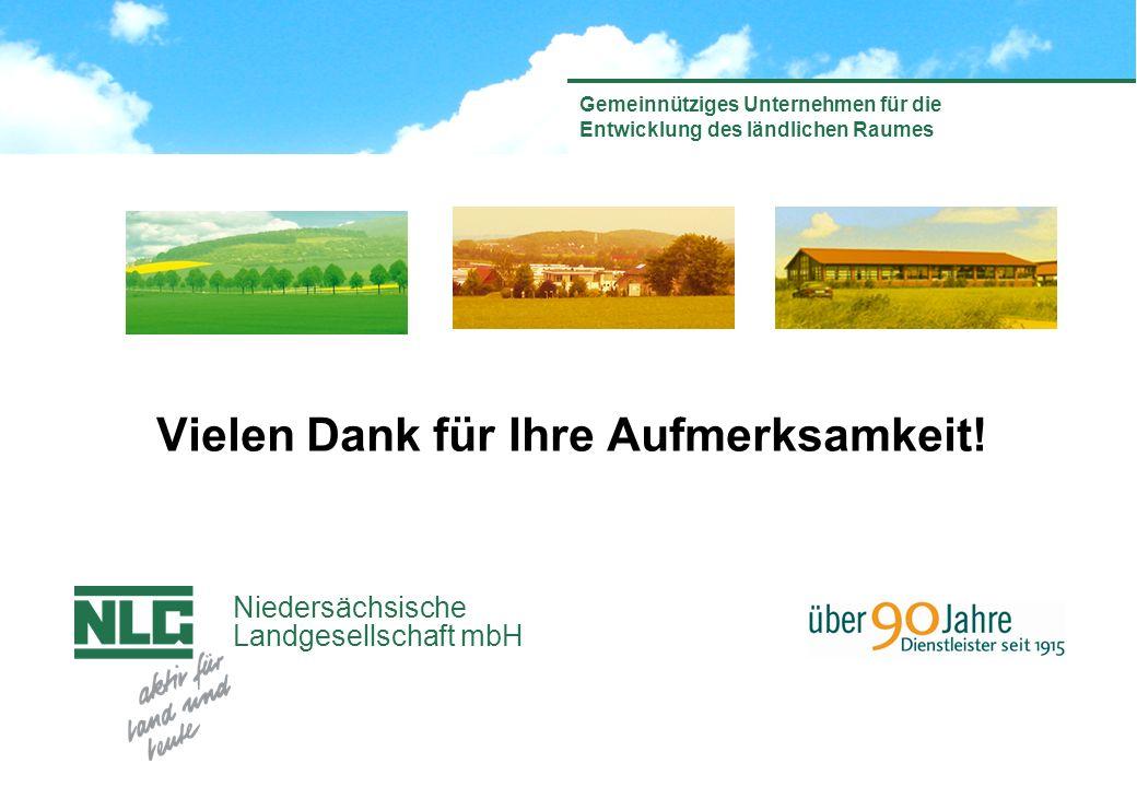 Niedersächsische Landgesellschaft mbH Gemeinnütziges Unternehmen für die Entwicklung des ländlichen Raumes Vielen Dank für Ihre Aufmerksamkeit!