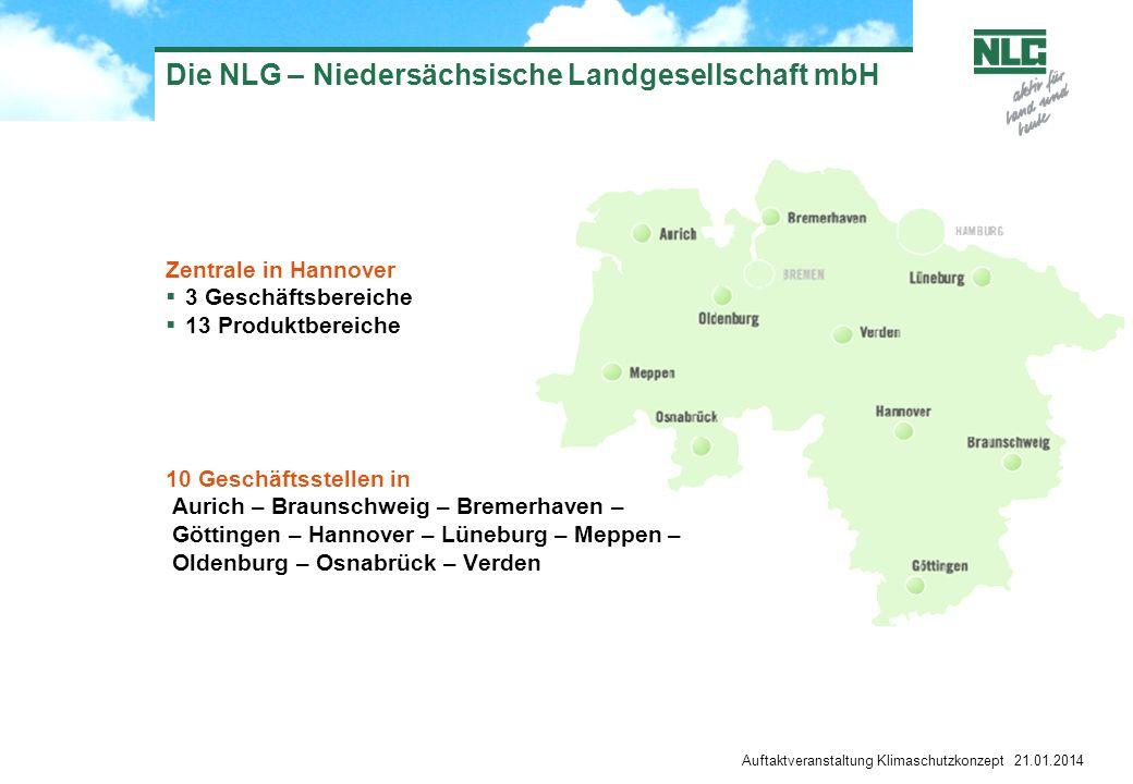 Auftaktveranstaltung Klimaschutzkonzept 21.01.2014 Die NLG – Niedersächsische Landgesellschaft mbH Zentrale in Hannover 3 Geschäftsbereiche 13 Produkt
