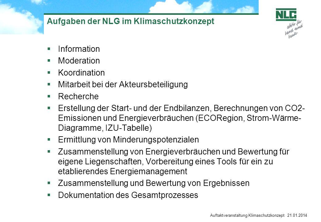 Auftaktveranstaltung Klimaschutzkonzept 21.01.2014 Aufgaben der NLG im Klimaschutzkonzept Information Moderation Koordination Mitarbeit bei der Akteur