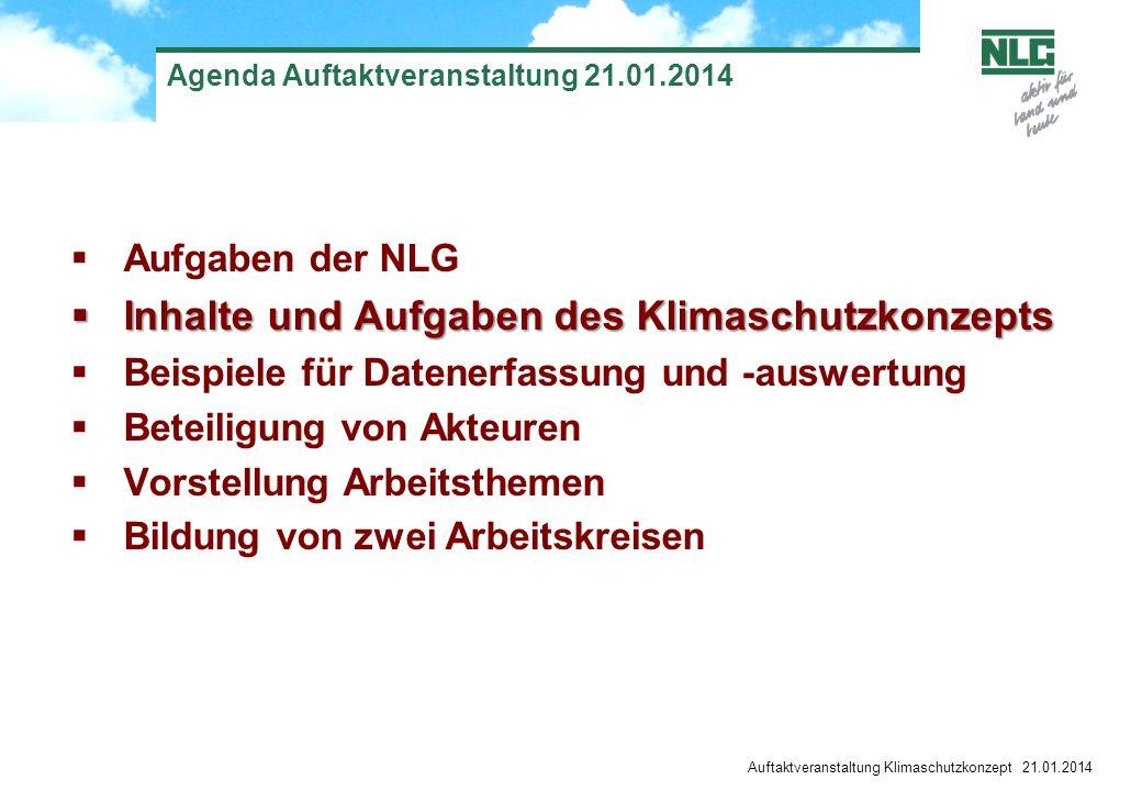 Auftaktveranstaltung Klimaschutzkonzept 21.01.2014 Agenda Auftaktveranstaltung 21.01.2014 Aufgaben der NLG Inhalte und Aufgaben des Klimaschutzkonzept