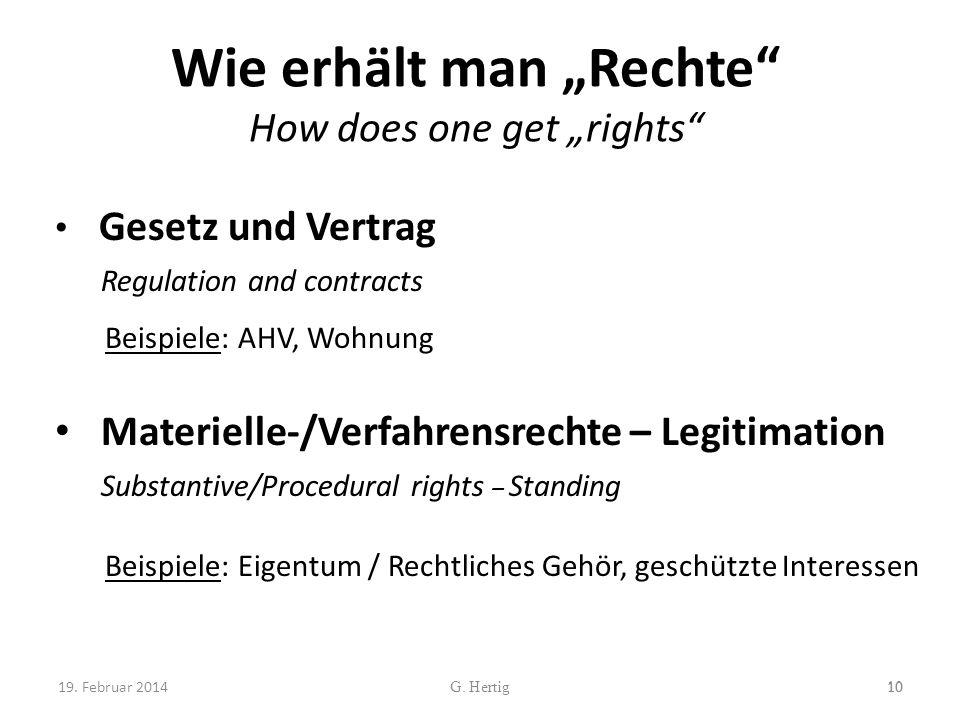 Wie erhält man Rechte How does one get rights Gesetz und Vertrag Regulation and contracts Beispiele: AHV, Wohnung Materielle-/Verfahrensrechte – Legit
