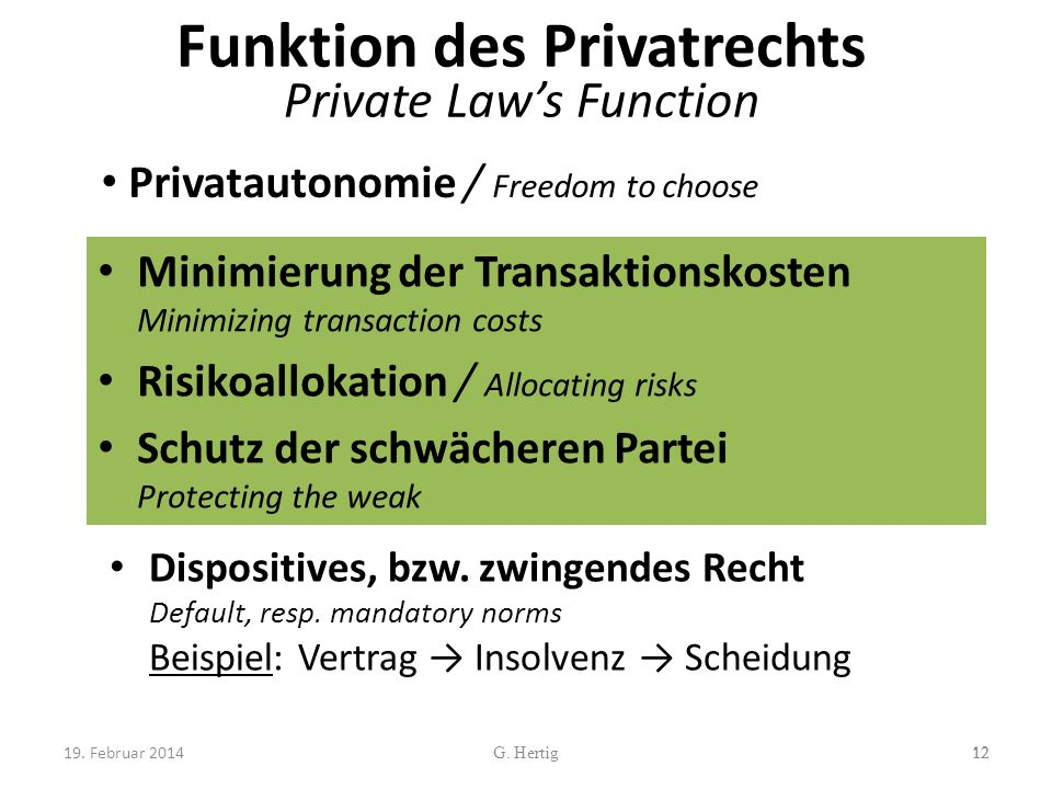 Funktion des Privatrechts Private Laws Function Minimierung der Transaktionskosten Minimizing transaction costs Risikoallokation / Allocating risks Schutz der schwächeren Partei Protecting the weak 12G.
