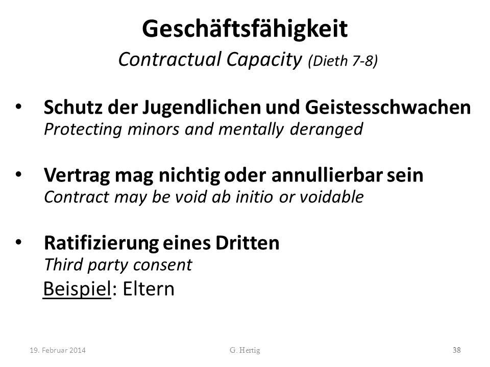 Geschäftsfähigkeit Contractual Capacity (Dieth 7-8) Schutz der Jugendlichen und Geistesschwachen Protecting minors and mentally deranged Vertrag mag n