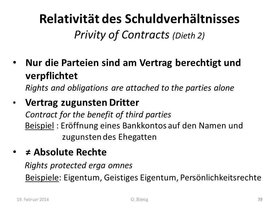 Relativität des Schuldverhältnisses Privity of Contracts (Dieth 2) Nur die Parteien sind am Vertrag berechtigt und verpflichtet Rights and obligations